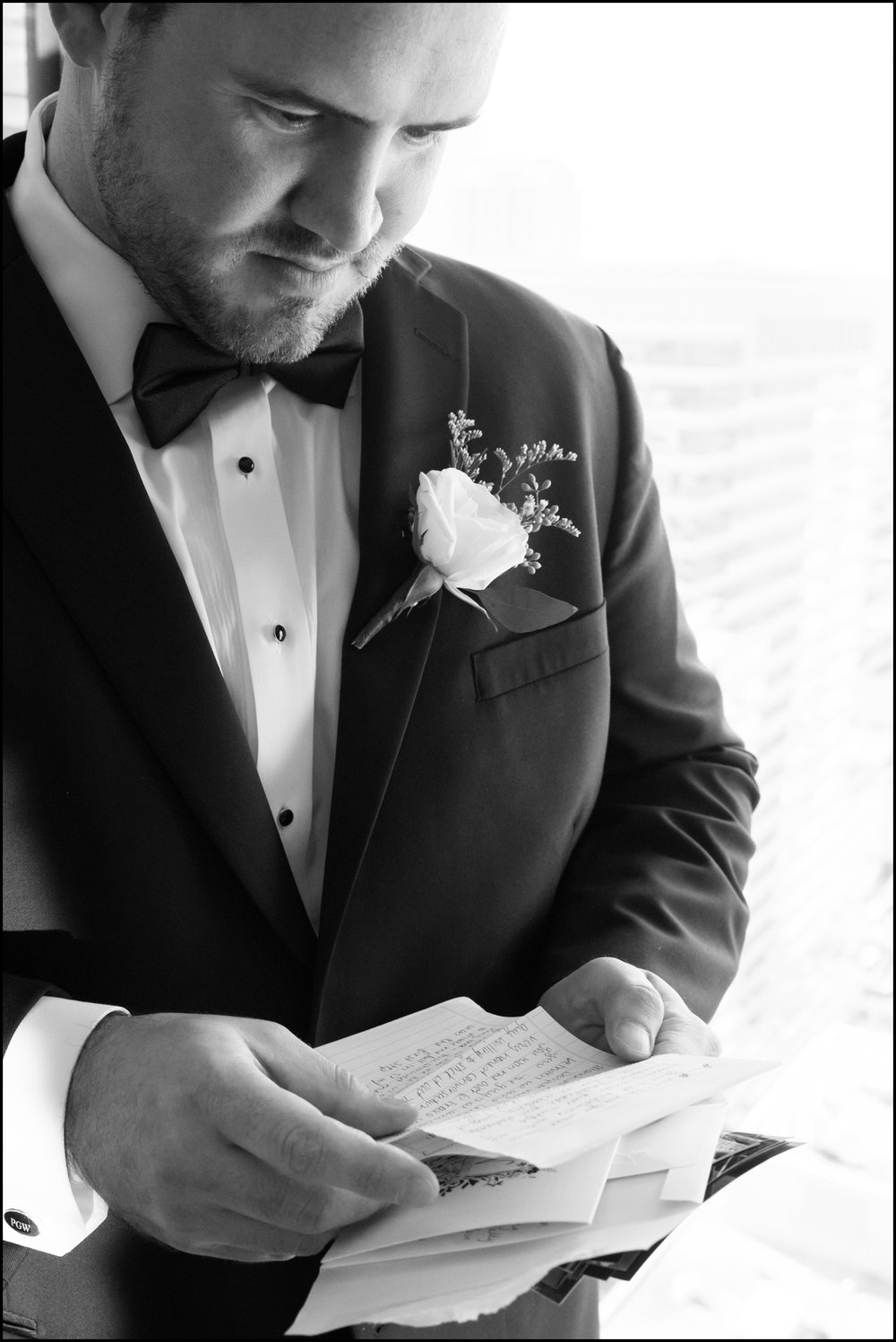groom reading a letter