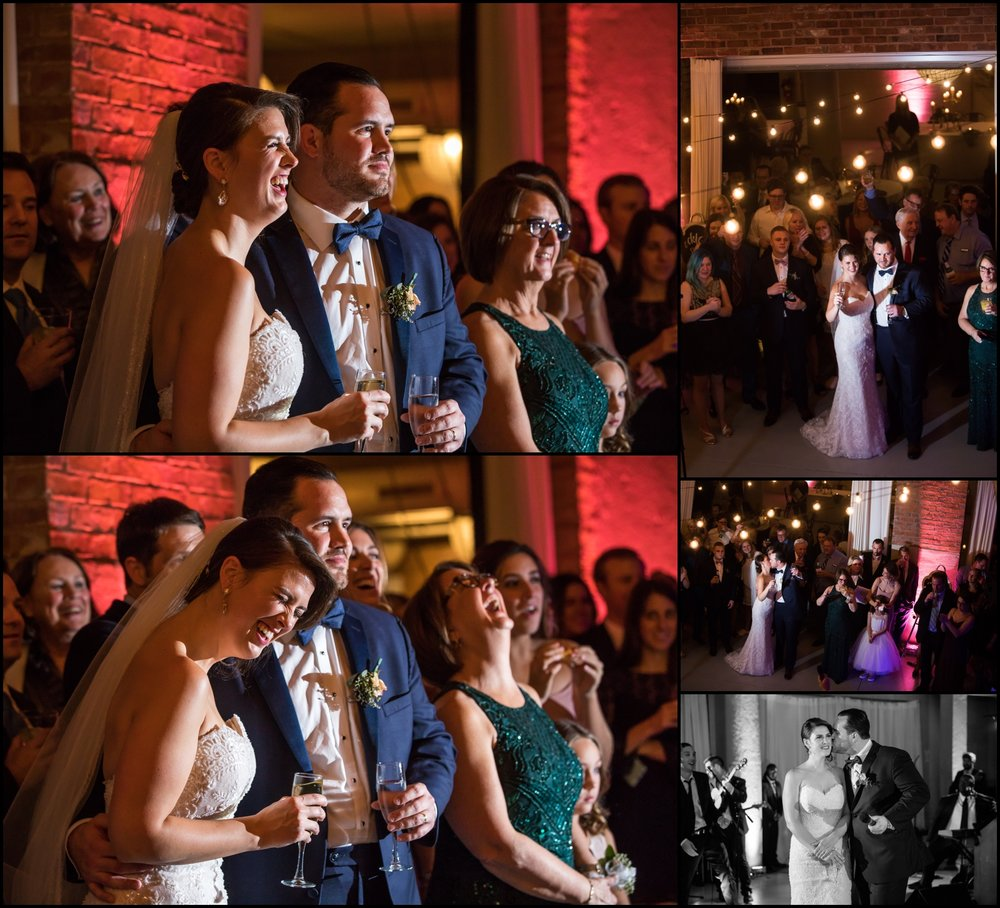 bride and groom laughing together at their wedding
