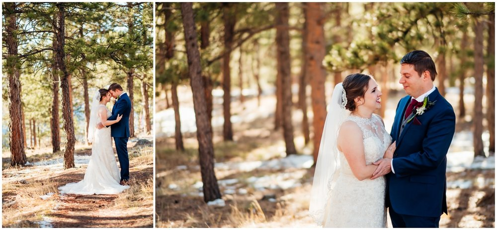 bride and groom in the woods together