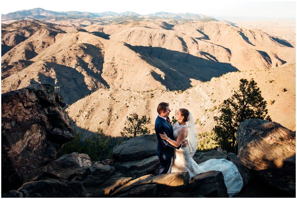 Bride and groom after their wedding ceremony in Colorado