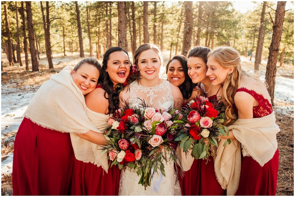 bridesmaids holding their bouquets