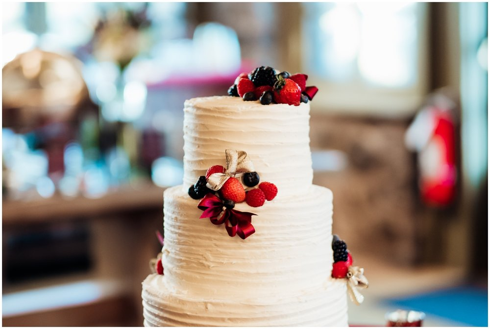 Simple white wedding cake with fruits