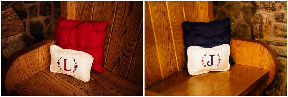Blue and Red pillows