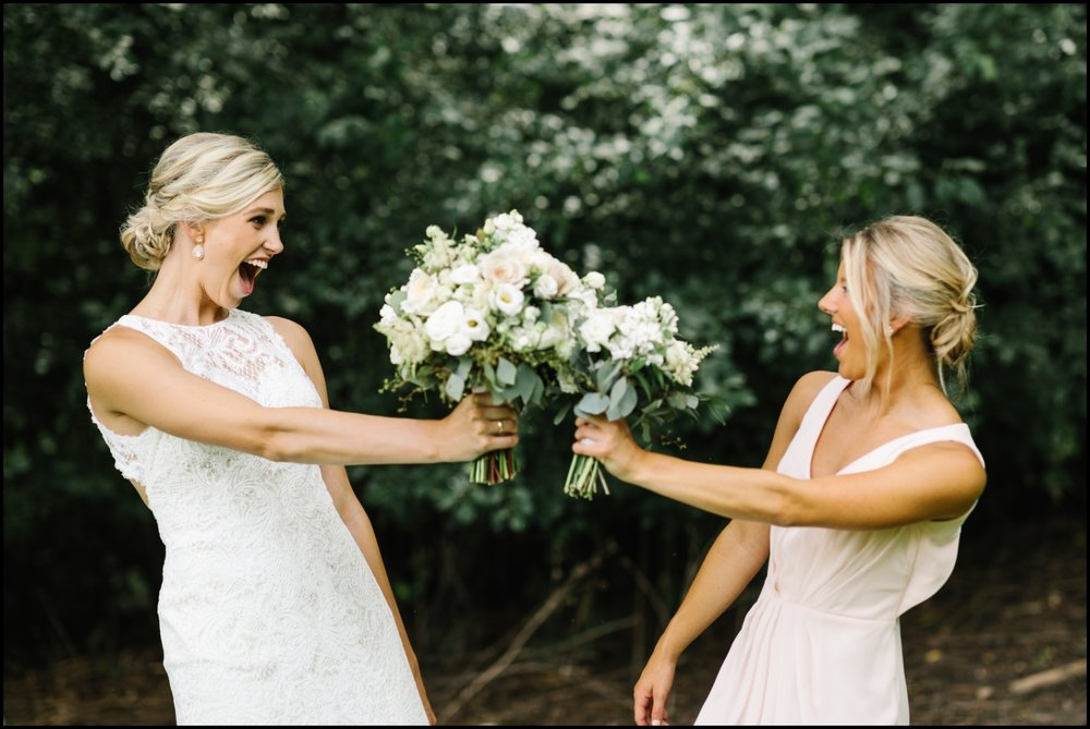 bride and friend being silly