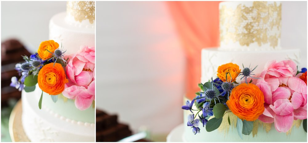 white with colorful flower wedding cake