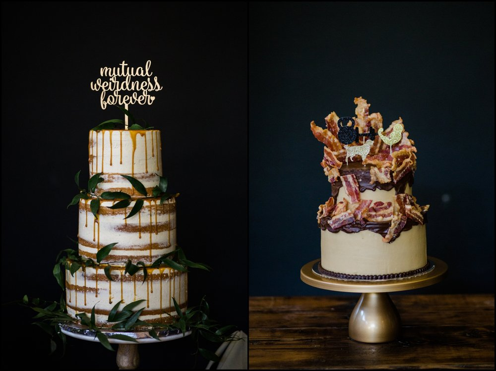 Bride and groom's wedding cakes