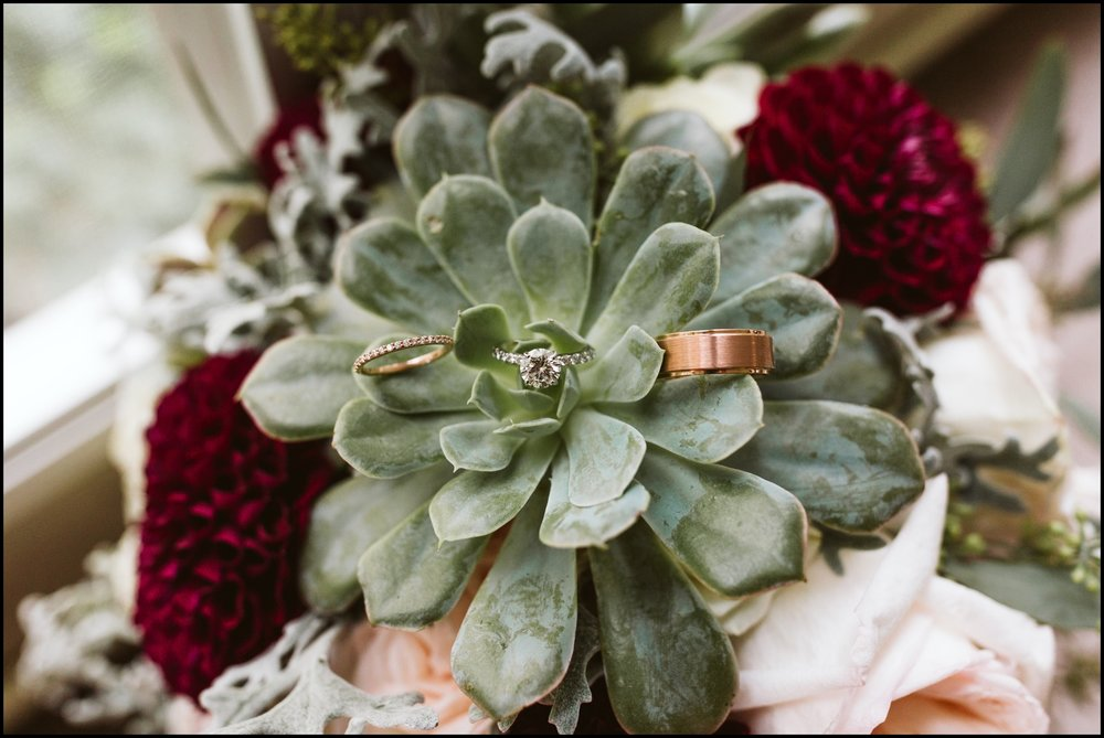 Wedding bouquet and wedding ring