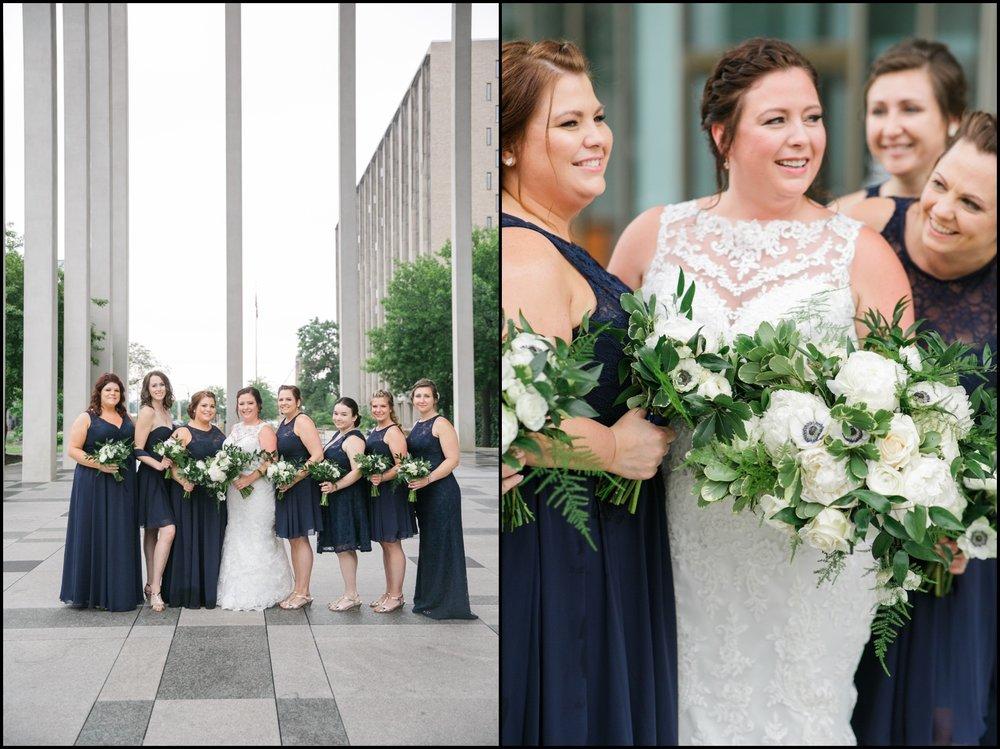 bridesmaids wearing navy blue dresses