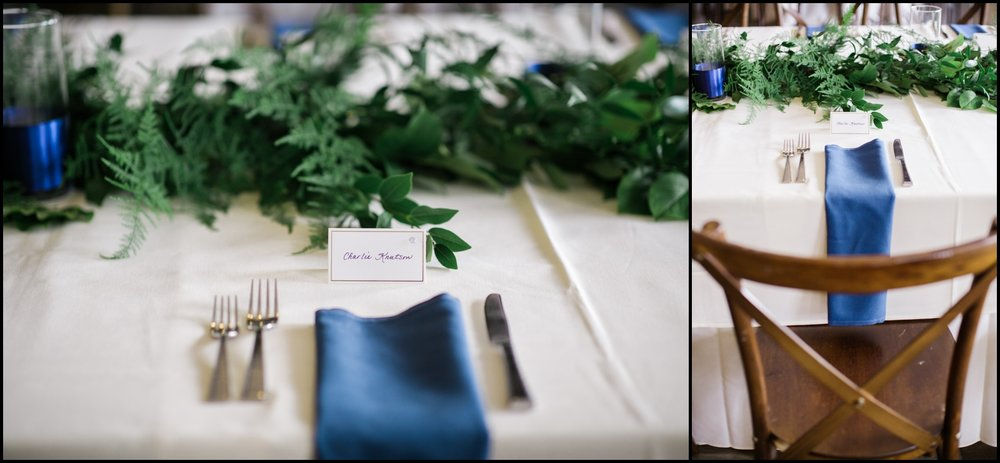 Wedding tablescape with navy