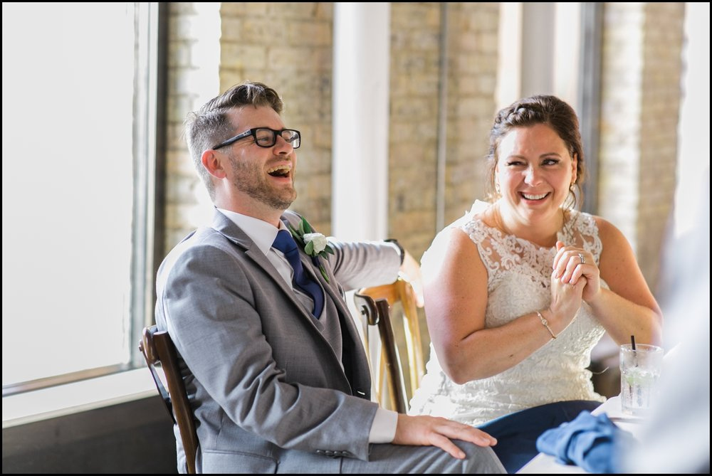 Bride and groom at their MPLS wedding reception