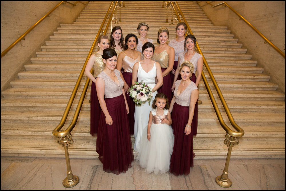 Bride with her bridesmaids and Flower girl
