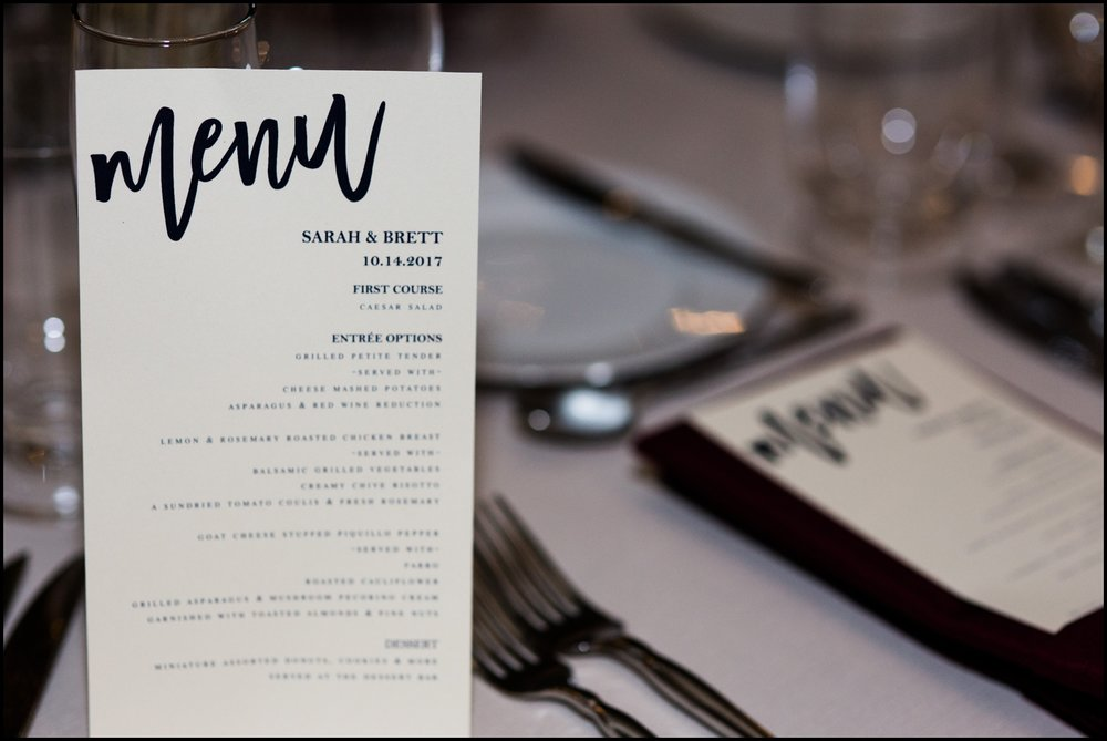 Menu for Wedding Reception