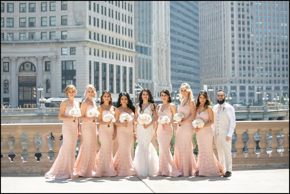 Bride and bridesmaids at the Chicago wedding