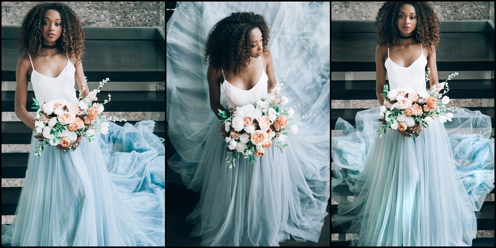 bride wedding dress and bouquet in MN