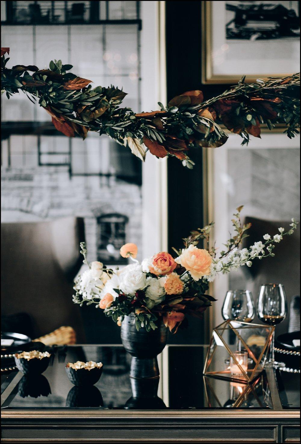 white and orange floral wedding decor