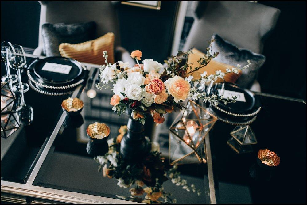 Black and orange wedding tablescape
