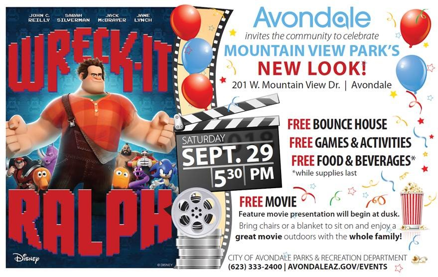 "Bring a chair, invite the neighbors as Avondale sets up an outdoor movie, ""Wreck-It Ralph"" in your neighborhood. Movie begins at sunset."
