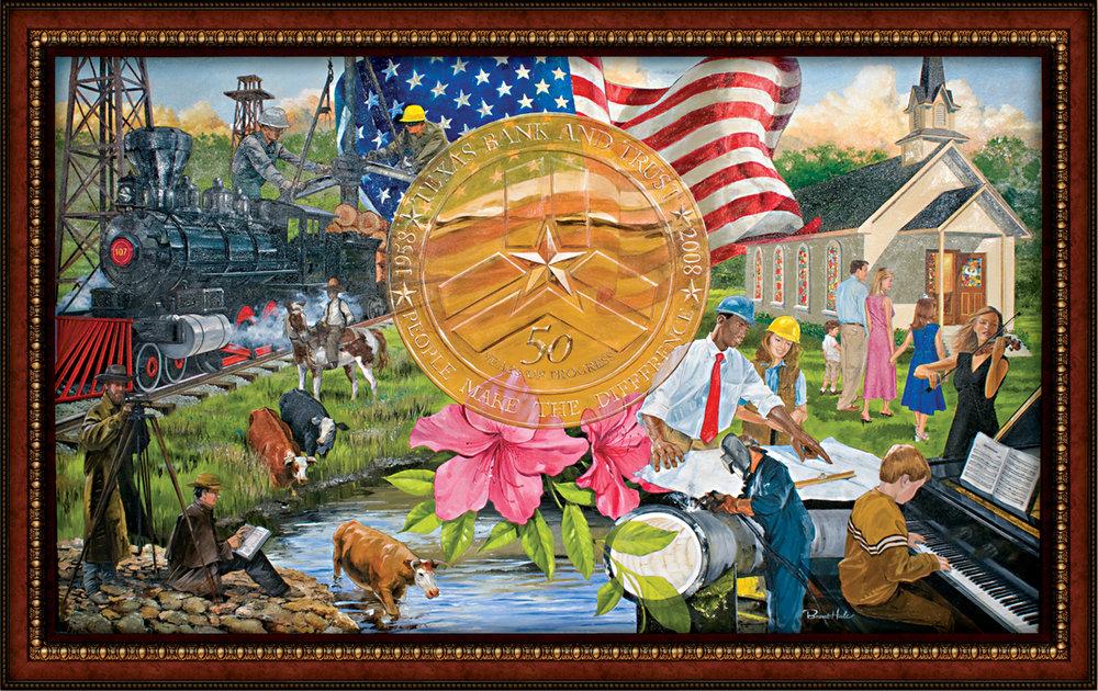 Texas Bank & Trust Lobby Mural - Oil On Canvas