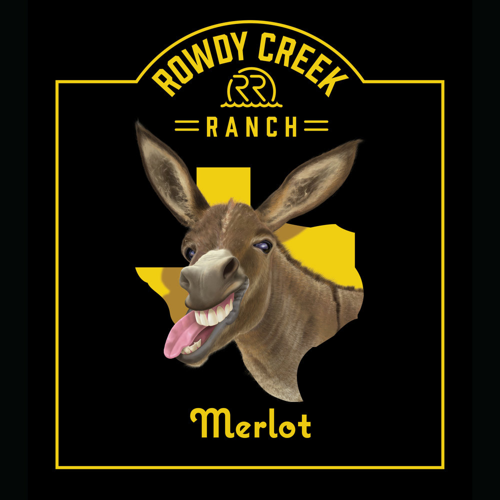 Rowdy Creek Ranch Merlot Wine Label