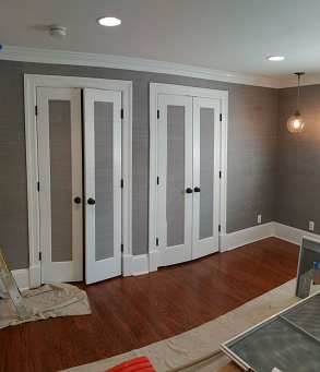 wallpaper hanging and door and trim interiorroom painting