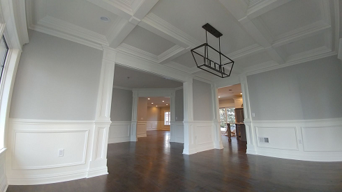 tray ceiling, wainscotting, and crown molding painting