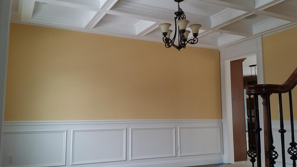 tray ceiling and wall dining room painting