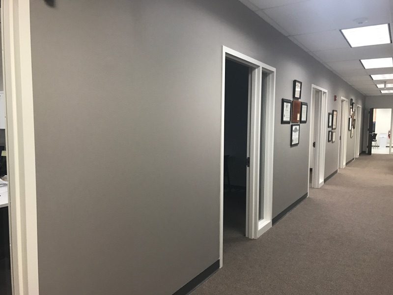 business office painters complete accent wall