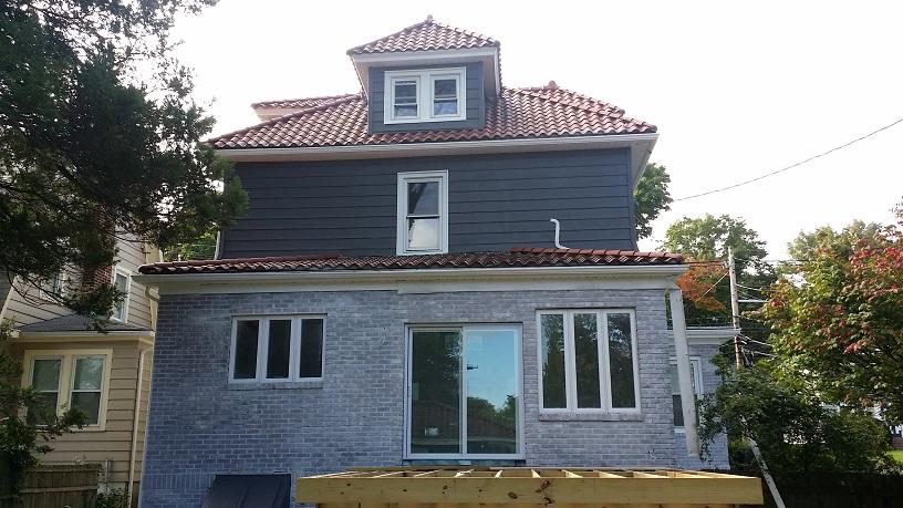 Exterior aluminum siding painting & brick whitewashing