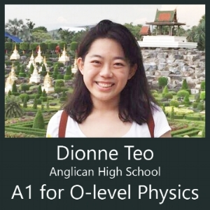 Anglican high school AHS student attends Physics Tuition by Calvin Kong Clementi and Bukit Timah and score A1