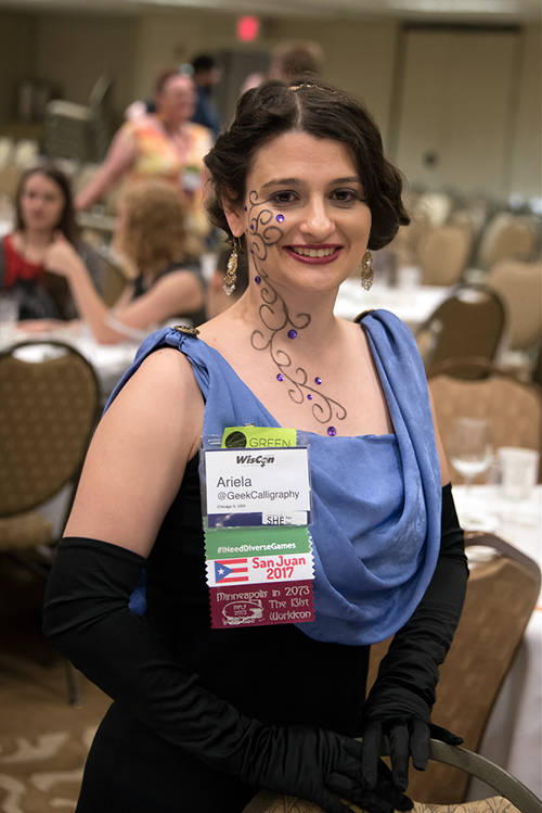 Ariela at the WisCon40 dessert salon and GOH speeches. Photo courtesy of John Scalzi.