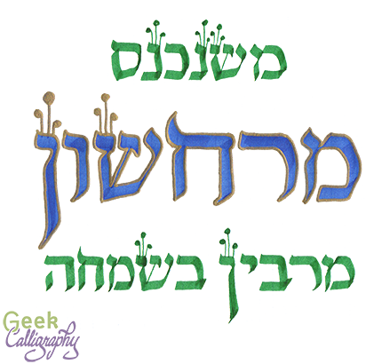 "Image shows the words ""Mishenichnas Marcheshvan Marbin B'Simcha"" in green and blue."