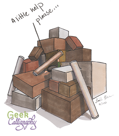 "Image shows a chibi Ariela under a pile of boxes and cardboard tubes saying ""a little help, please..."""