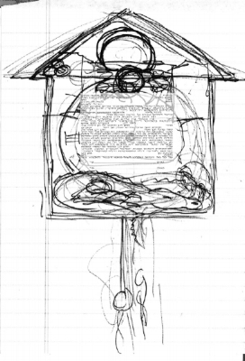 Image shows a scribbled sketch on notebook paper which will be explained. Also there is a Caspi all-Hebrew  ketubah  text superimposed on the image.