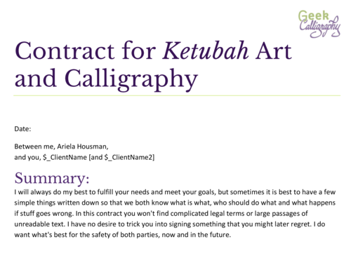 More advice for artists on contracts geek calligraphy this is what a sample of the first page of arielas boilerplate contract looks like thecheapjerseys Image collections