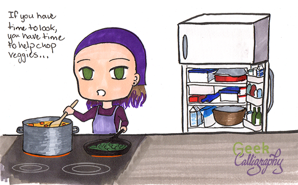 Chibi Terri cooks for Passover. (Chibis are really not proportioned to stand at stoves.)