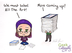 Chibi Terri & chibi Ariela are ensuring that All The Art is properly labeled.