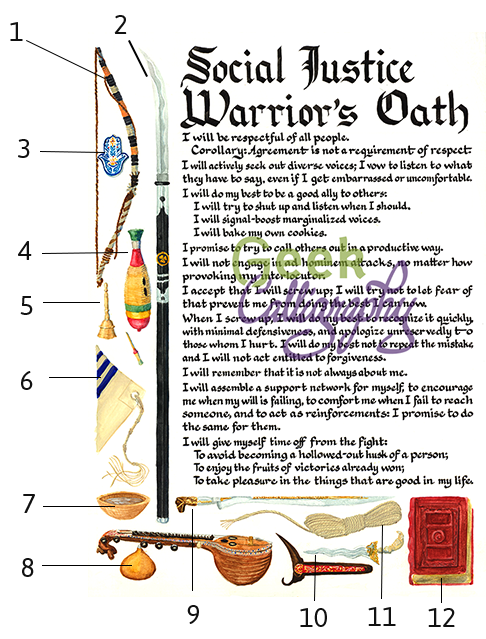 Social Justice Warriors Oath Item Diagram - Geek Calligraphy