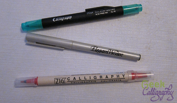 A very small sample of the number of felt tip calligraphy markers out there