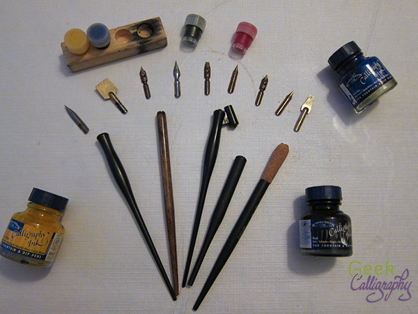 Just a few of the options available for dip pen nibs, pen bodies, and ink.