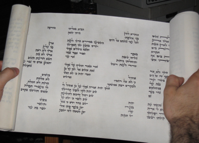 Photo of a scroll open to the third chapter of Eicha. The text is formatted to in diagonals that are supposed to look like walls falling in. Image from HaSoferet.com