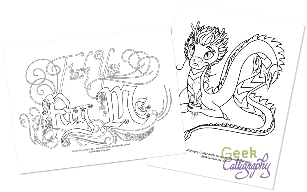 Coloring Pages from Geek Calligraphy