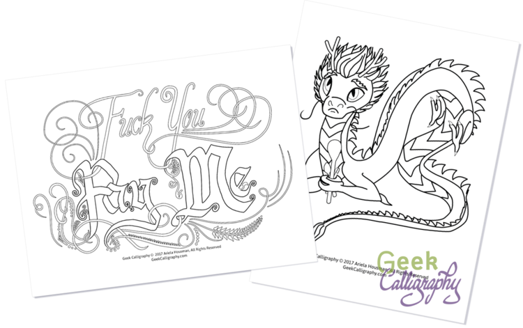 New Product Line: Printable Coloring Pages — Geek Calligraphy