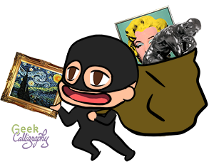 Image is of a masked chibi committing Stereotypical Art Theft. They are holding a framed Starry Night, and have Rodin's Thinker and Andy Warhol's Marilyn Monroe in their sack.