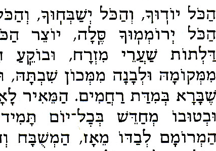 Text from the Sim Shalom prayer book. This font is one of the few that attempts a slab serif on the upper left of horizontal strokes. It is widely considered ugly and unpleasant.
