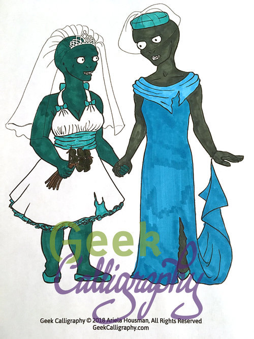 Zombie Brides Coloring Page — Geek Calligraphy