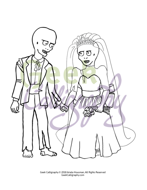 zombie bride groom coloring page - Bride And Groom Coloring Pages