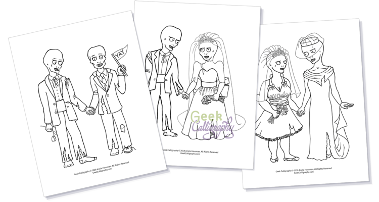 Zombie Wedding Coloring Pages By Geek Calligraphy