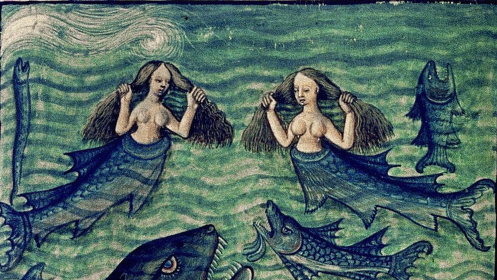 Mermaids from Bodleian MS Douce 134, c. 1450-70 C.E.