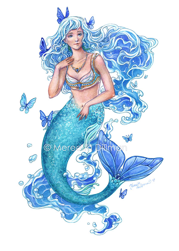 """Blue Mermaid"" art print by Meredith Dillman. You can buy it at  MeredithDillman.com . Used with permission."