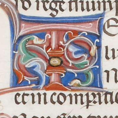 An illustrated initial T - no picture, no gold or silver Dictys Cretensis , De bello Trojano libri sex, 14th cent., BNF; fol. 28v